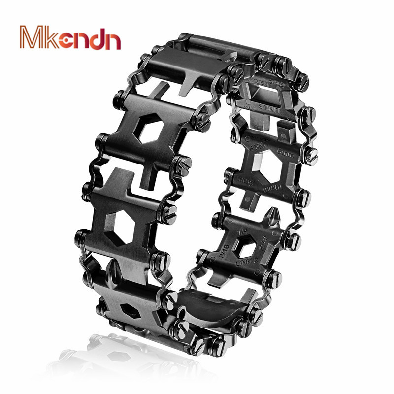 MKENDN Haute Qualité Homme En Plein Air Spliced Bracelet Multifonctionnel Portant Tournevis Outil Main Chaîne Champ Survie Bracelet