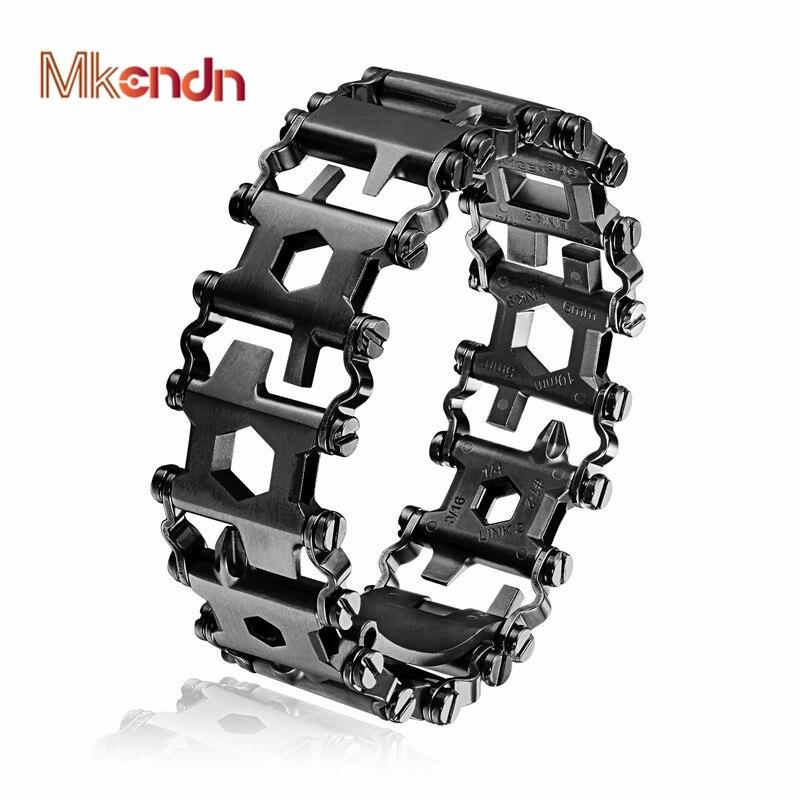 MKENDN haute qualité homme extérieur épissé Bracelet multifonctionnel porter tournevis outil main chaîne champ survie Bracelet