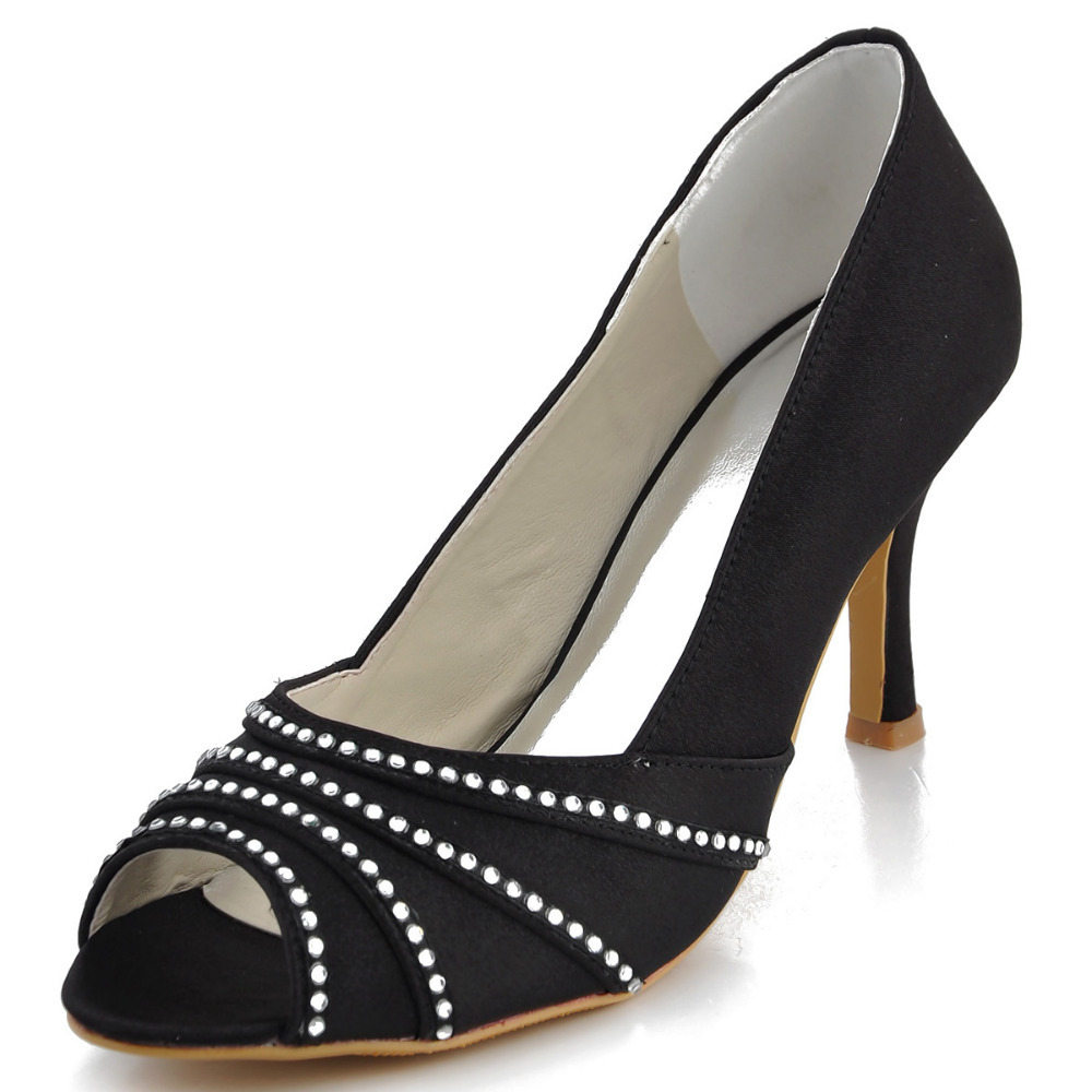 ФОТО EP11051 Black Peep Toe Rhinestone High Heel Shoes Sexy Pumps for Women Stiletto Heel Satin Prom Shoes