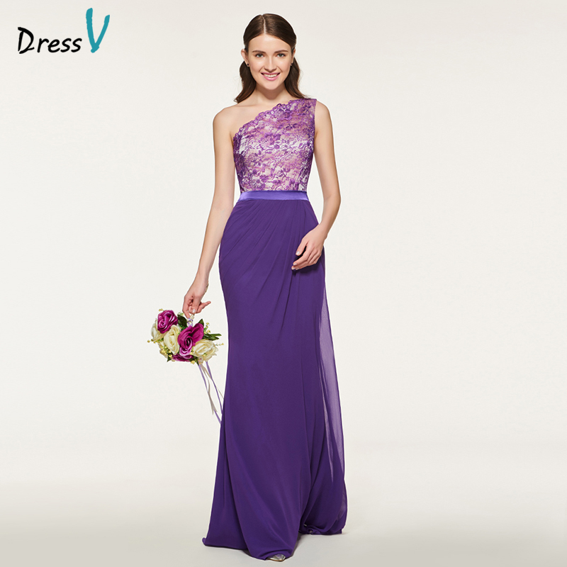 Dressv Purple   Bridesmaid     Dress   One Shoulder Mermaid Sleeveless Lace Floor Length Elegant Wedding Party Custom   Bridesmaid     Dress
