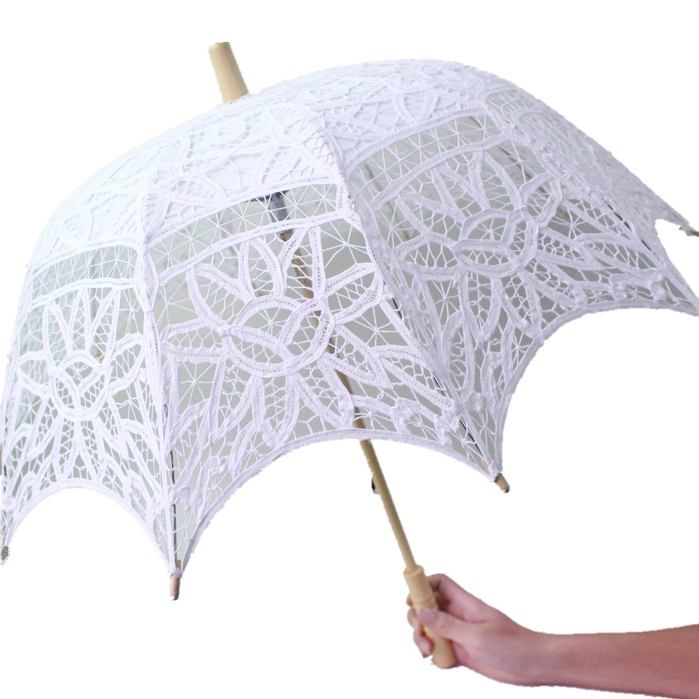 Us 13 35 50 Off Yo Cho Bride Wedding Umbrella White Lace Parasol Umbrella Party Decoration Accessories Bridal Shower Photo Prop In Bridal Umbrellas