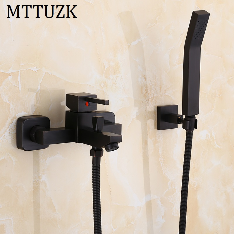 MTTUZK Black Brass Hot and Cold Mixer Single Handle Shower Faucet Set Wall Mounted Square Bath Shower Faucet With handsprays sognare brass body bathroom shower faucet single handle cold and hot bath shower faucet set with hand shower chrome finish d5126