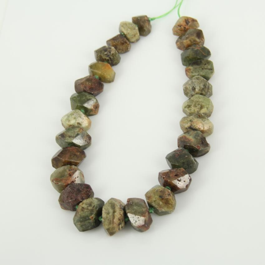 Green Garnet Natural Stones Center Drilled Faceted Nugget Pendants,Loose Beads Raw Gems Cut Slab Necklace Findings bulk Strand
