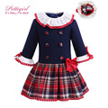 Pettiigrl Autumn Girls Dresses Navy And Grid England Style With Lace Collar And Headwear Boutique Costumes For Kids G-DMGD908-10