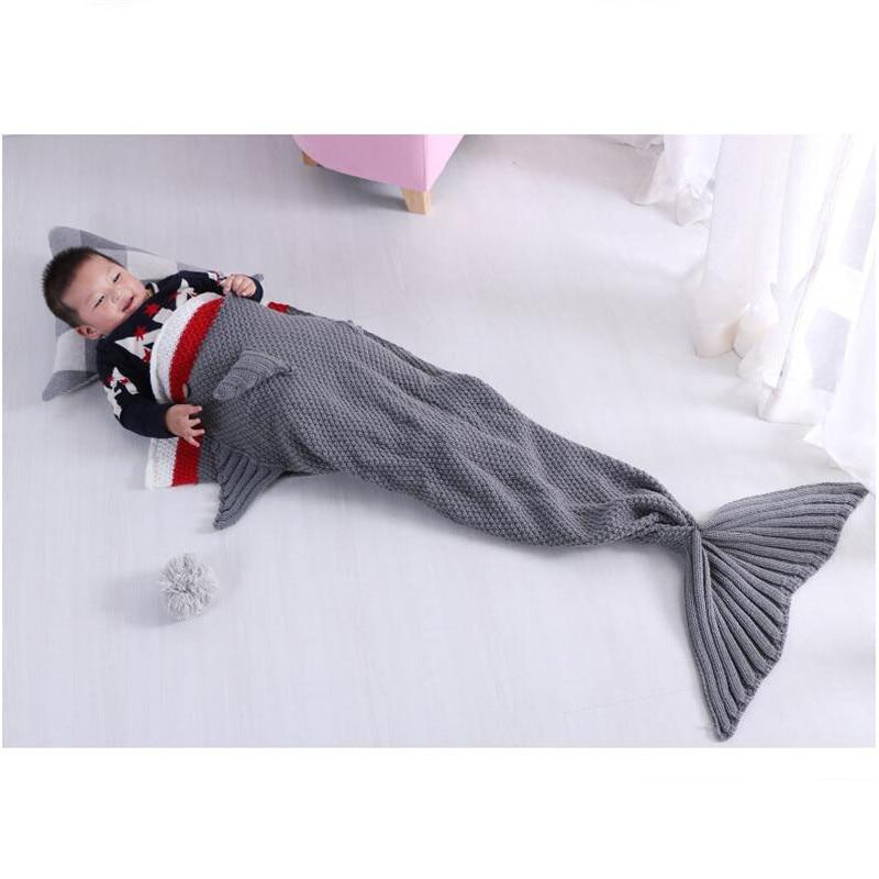 70X130cm 2017 Baby Photography Props Crochet Children Shark Knit Haaien Slaapzak Sleepsack Blanket Kids Tail Sofa Bed Wrapper