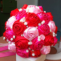 2017 Bridal Bridesmaid Wedding Bouquet Cheap New Luxury Crystal Red&Pink&Fuchsia Handmade Artificial Rose Flower Bridal Bouquets