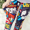 2016 Women leggings flower print slim pants graffiti ankle length leggins multi-design legging mid-waist ladies jeggings KM1757