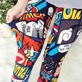 2016 polainas de Las Mujeres de impresión de la flor delgada pantalones altura del tobillo leggins de graffiti multi-diseño legging mediados de cintura de las señoras jeggings KM1757