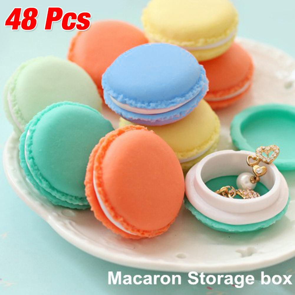 48pcs/Lot Cute Candy Color Macaron Mini Macaron Sundries Storage Box Jewelry Rings Box Pill Case Birthday Gift Box