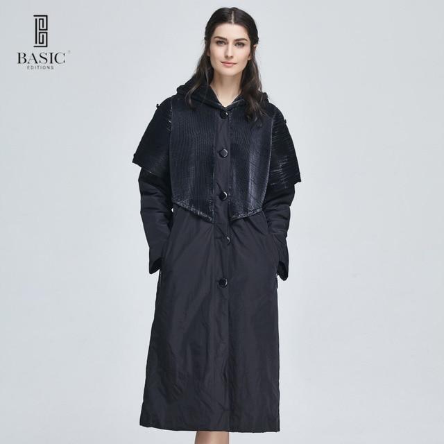 Basic Editions Для женщин Весна Пуговицы Аккордеоны плиссированные Ткань капюшоном длинный плащ пальто-ma1055-002