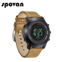SPOVAN Smart Watch Fashion Personality Leather Men S Compass Waterproof Fishing LED Backlight Mountaineer Outdoor Sports
