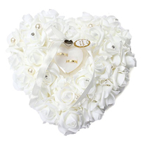 White Rose Flower Heart Shape Ring Cushion With Ribbon Pearl Valentine's Day Gift Ring Box Holder Romantic Wedding Decoration