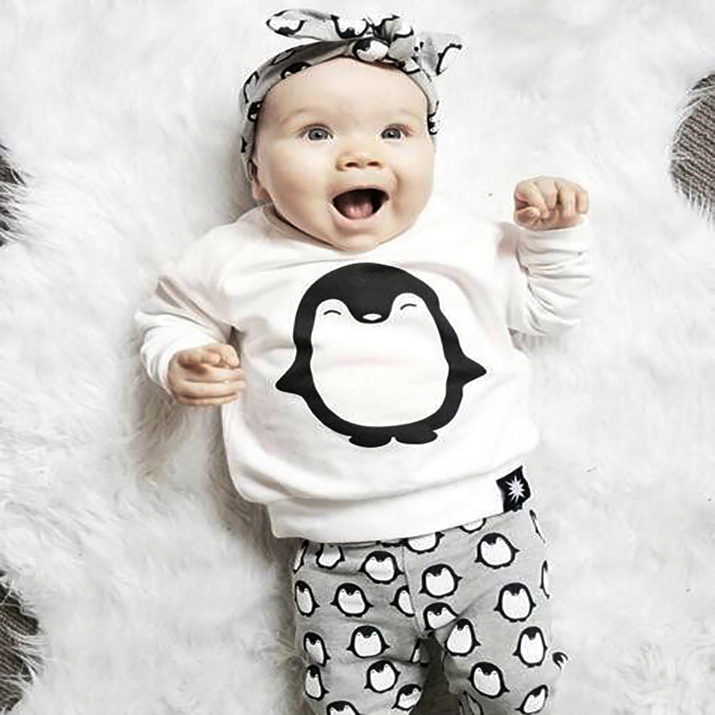Fashion Baby Girl Clothes 2PCS (Cute Penguin Print Long Sleeve T-skjorte + Bukser) Baby Boy Girls Klær Set Newborn Baby Boy Clothes