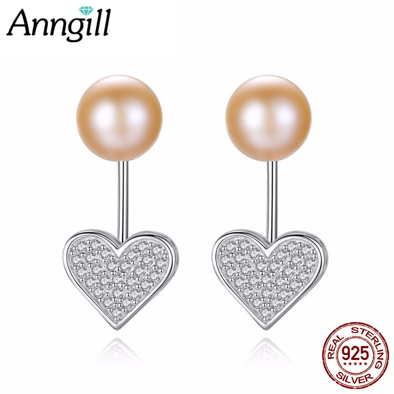 ANNGILL Luxury Love Heart Real Pure 925 Sterling Silver Jewelry 8-9mm Freshwater Natural Pearl Earrings Fashion Women Favourites