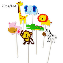 cupcake toppers decoration for birthday party supplies animal shaped zebra giraffe elephant lion monkey pig cake topper