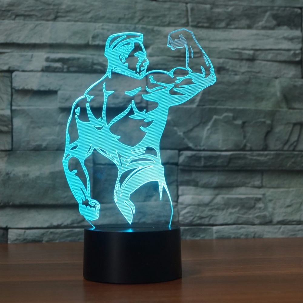 3D Bodybuilding Muscle Modelling Table Lamp Atmosphere Boys Bedroom LED Night Light Decor 7 Colors Changing Sleep Lighting Gifts3D Bodybuilding Muscle Modelling Table Lamp Atmosphere Boys Bedroom LED Night Light Decor 7 Colors Changing Sleep Lighting Gifts