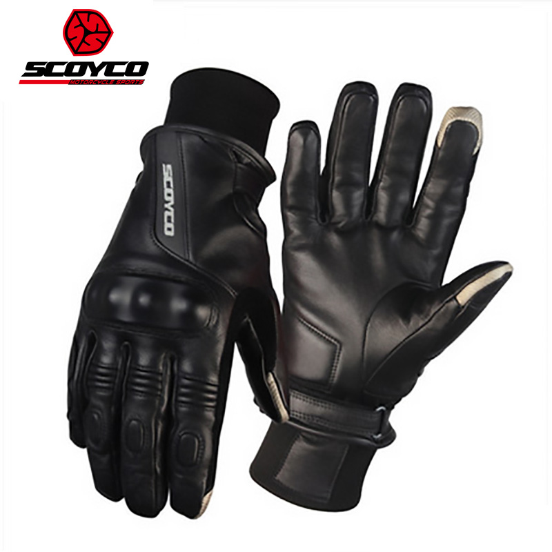 2017 New SCOYCO touch screen motorcycle riding gloves MC31 waterproof windproof Hare style leather motorbike gloves Winter warm