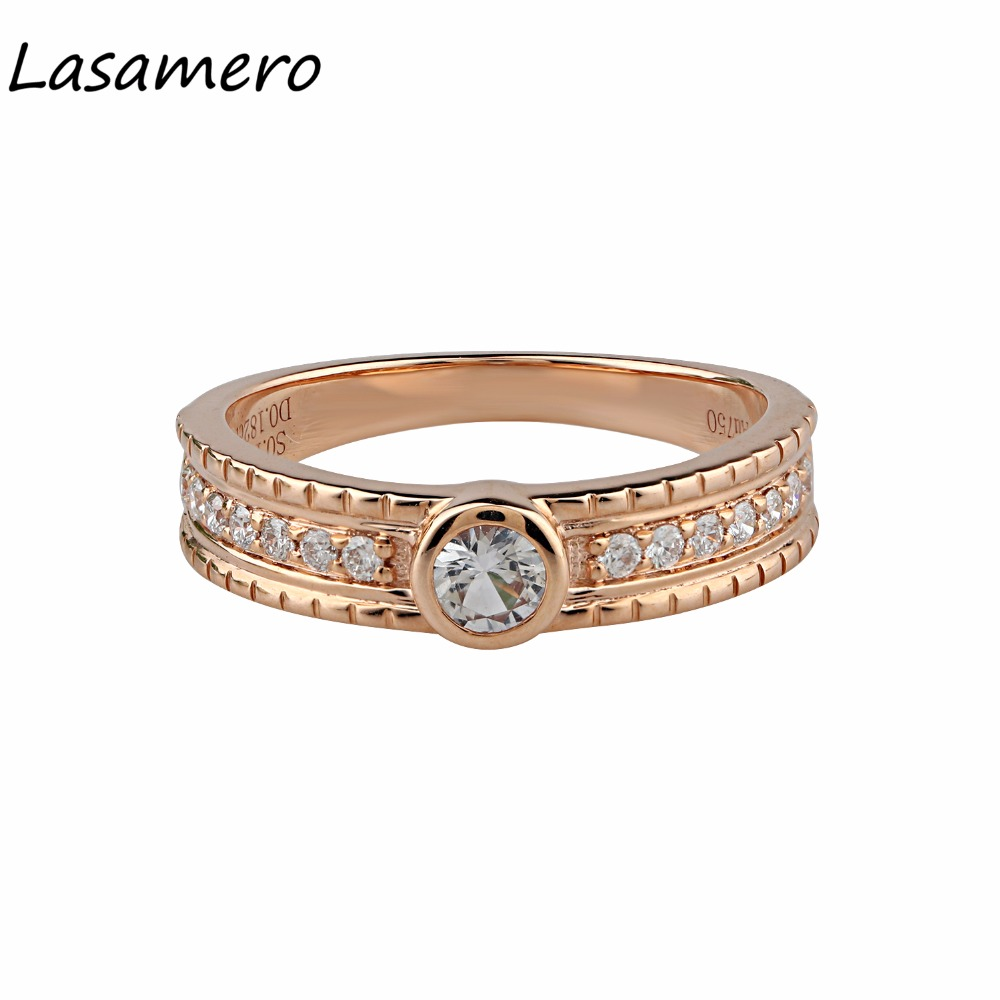 LASAMERO Round Shape 0.2CT Natural White Sapphire Gemstone Diamond Accents 18k Rose Gold Vintage Wedding Engagement Ring