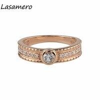 LASAMERO Round Shape 0.2CT Natural White Sapphire Gemstone Diamond Accents 18k Rose Gold Vintage Wedding Engagement Ring