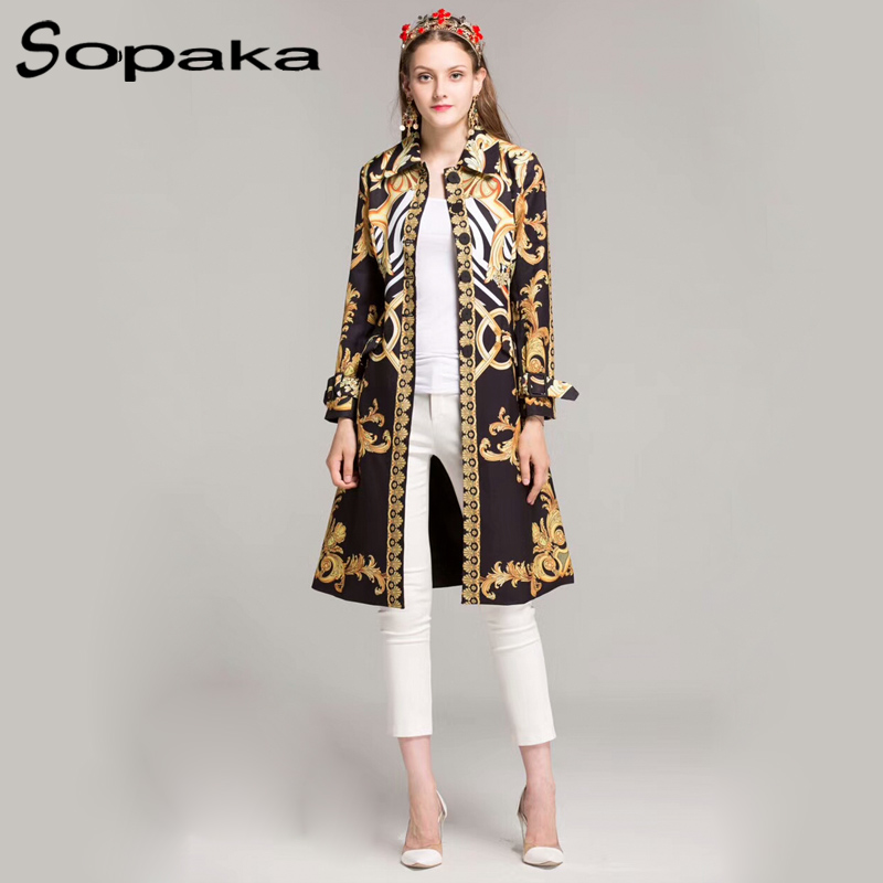 2018 Autumn / Spring Vintage Black Gold Floral Pattern Print Sashes Single Breasted Long Coat Runway Designer Women Trench XXL