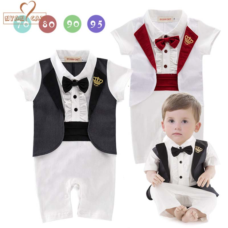 NYAN CAT Gentleman baby 2 colors crown tuxedo rompers infant toddler summer cotton jumpsuit party wedding birthday clothes nyan cat baby boy clothes short sleeves gentleman bow tie vest romper hat 2pcs set outfit jumpsuit rompers party cotton costume