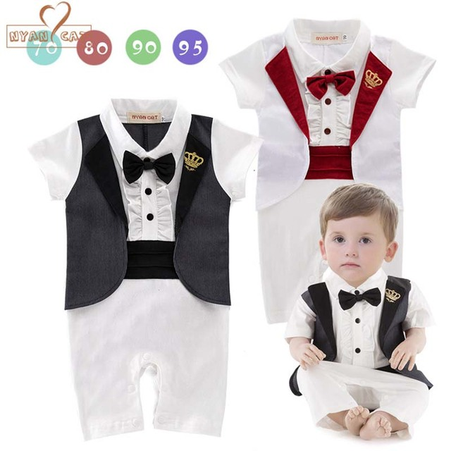 NYAN CAT Gentleman baby 2 colors crown tuxedo rompers infant toddler summer  cotton jumpsuit party wedding birthday clothes 9fe4e962b792
