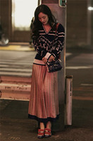 New blue letter jacquard sets a v neck sweater high waist head printed pleated skirts suits F1150
