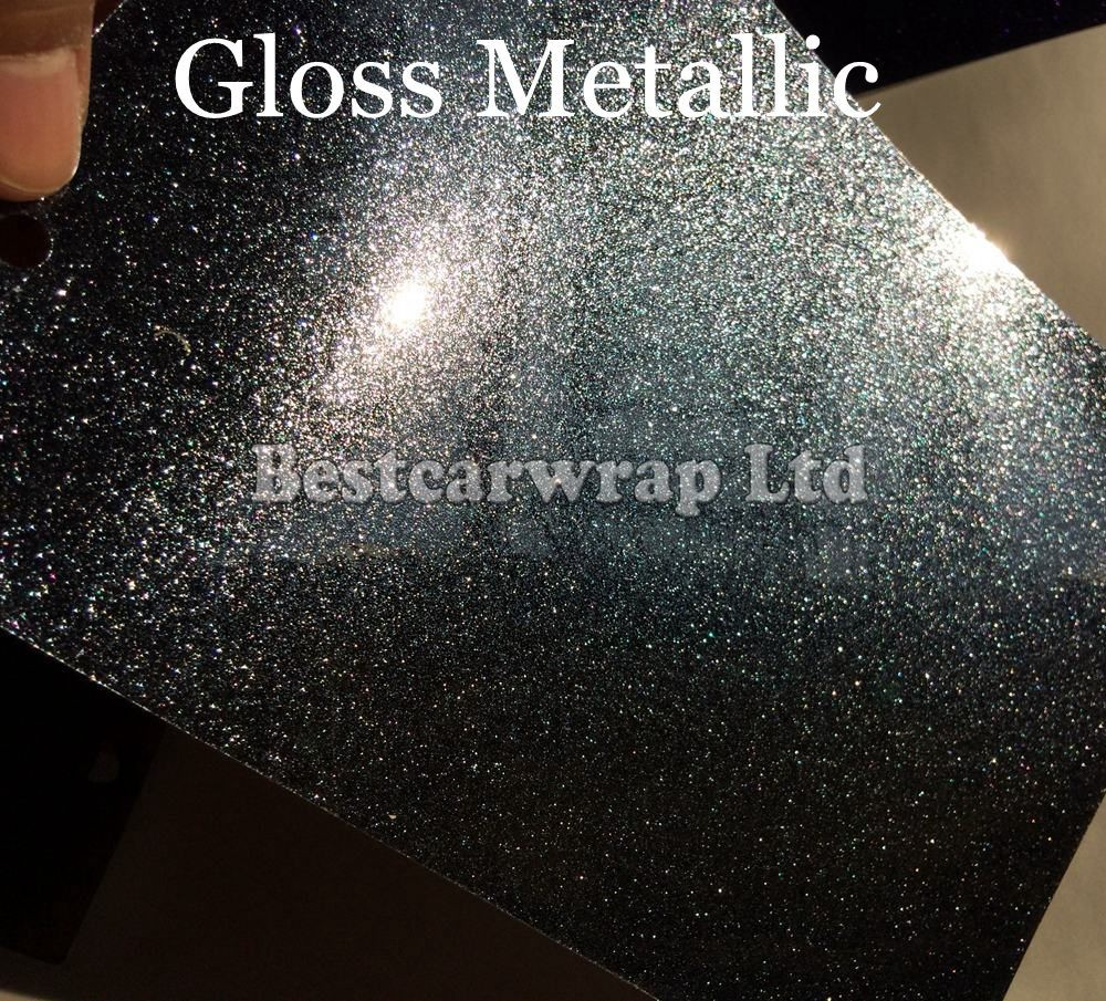 Us 295 0 Glossy Black Metallic Vinyl For Car Wrap With Air Release Glitter Pearl Gloss Shiny Film Vehicle Styling Size 1 52 20m Roll On Aliexpress