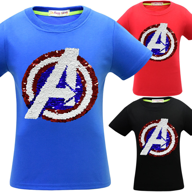 Boys Color changing Avengers sequins flipped reversible Superhero t shirt tee shirt kids girls t-shirts Children man tops image