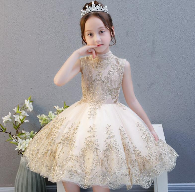 Gold Sequin Girls Party Evening Dress Flower Girl Dress For Girls Pageant Costume Princess Gowns Wedding First Communion Dresses