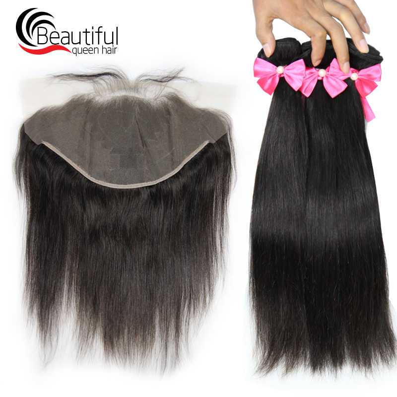 Beautiful Queen Malaysia Human Hair Straight 3 Bundles Weave with 13*4 Ear To Ear Lace Frontal Bleached Knots Remy Hair Weaving