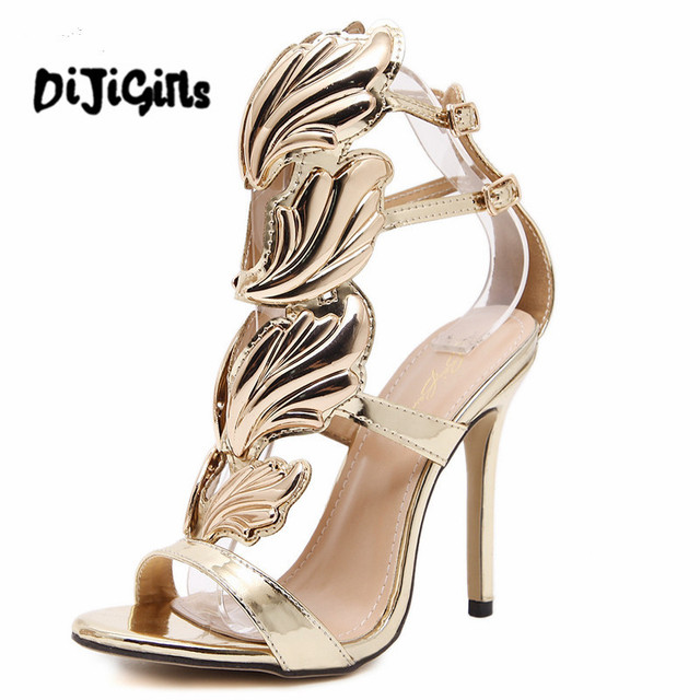b65cf38c3fa9 New star women high heel sandals gold leaf flame gladiator sandal shoes  party dress shoe woman patent leather high heels