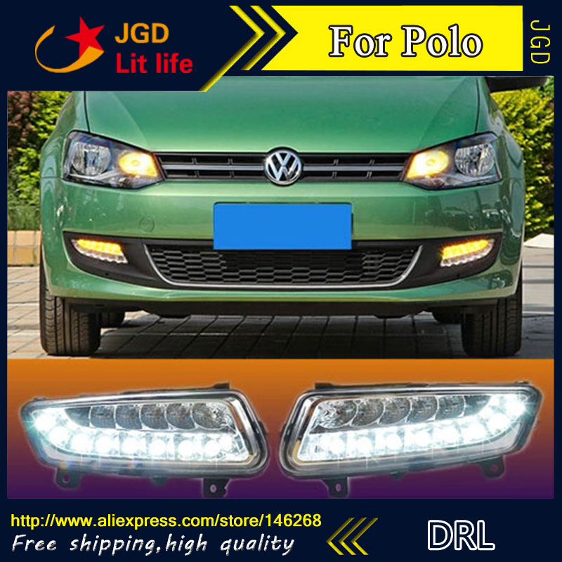 Free shipping ! 12V 6000k LED DRL Daytime running light for VW Polo 2011 2012 2013 fog lamp frame Fog light Car styling