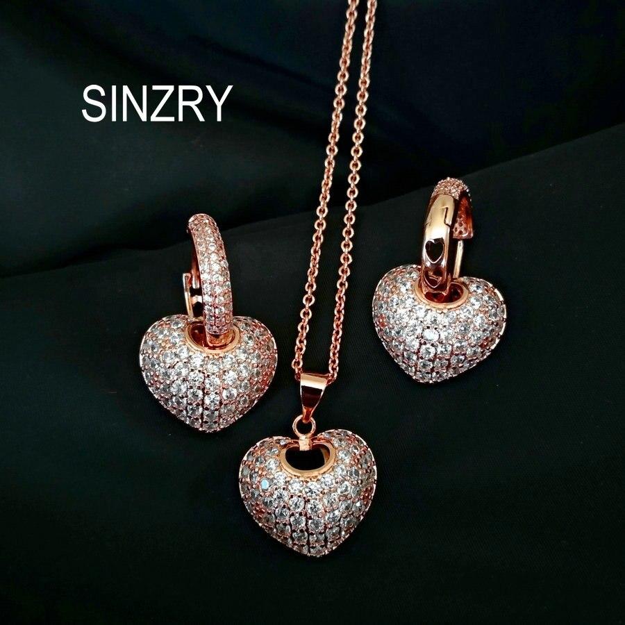 73339c75ba55 SINZRY Venta caliente AAA cúbicos Zirconia corazón joyería conjuntos  elegante bling CZ colgante collares pendiente establece para las mujeres