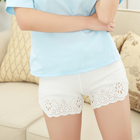 Summer Women Lace Waist Casual Shorts Hollow Pattern One Size Pants