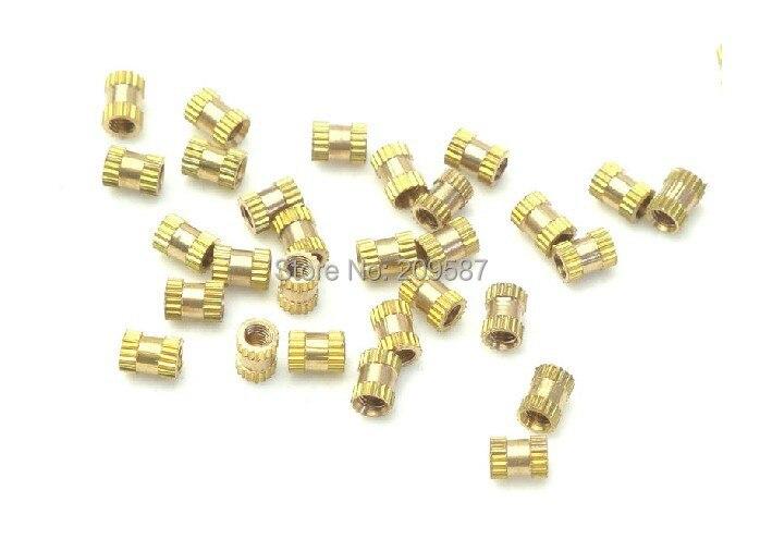 100pcs Brass Knurl Nuts M3x5mm(L)-5mm(OD) Metric Threaded Insert