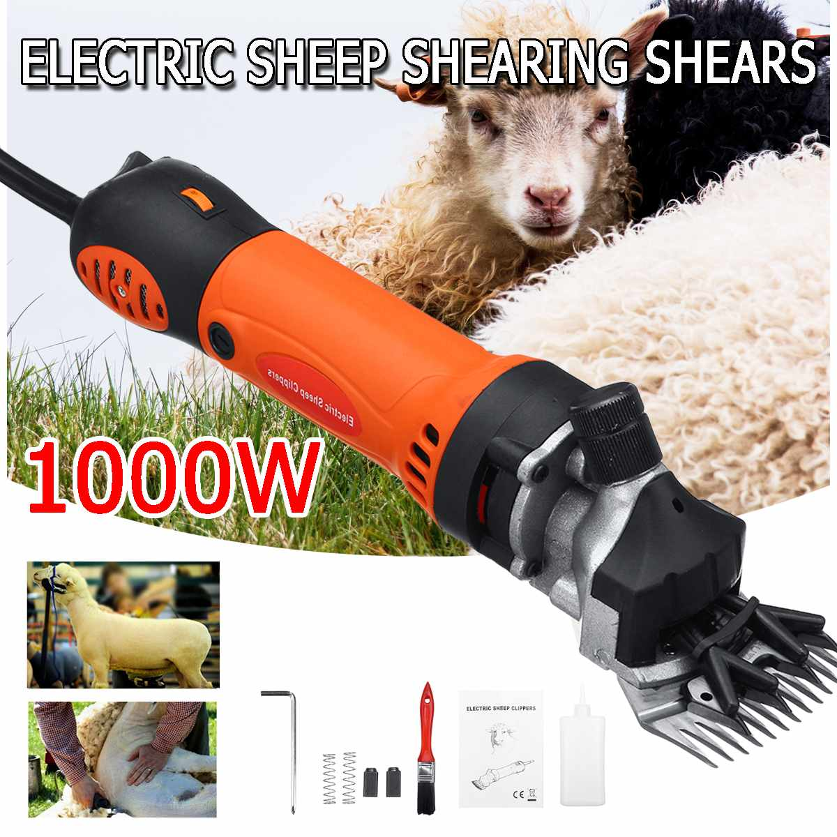 1000W 220V 6 Gears Speed Electric Sheep Goat Shearing Machine Trimmer Tool Wool Scissor Cut Machine With Box