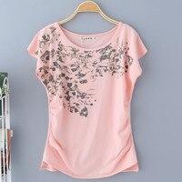 Female Summer Plus Size O Neck Short Batwing Sleeve Ruffles Print 100 Cotton Shirts Woman Hedging