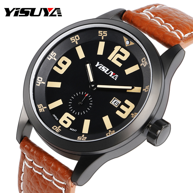 YISUYA Men's Sports Watch Luxury Date Genuine Leather Brown Wrist Watches Male Pilot Military Japan Quartz Watch Relojes