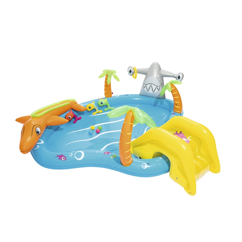 110'' Inflatable Sea Life Swimming Pool Play Center For Kids Summer Water Swim Game Garden Outdoor Ground Fun Raft
