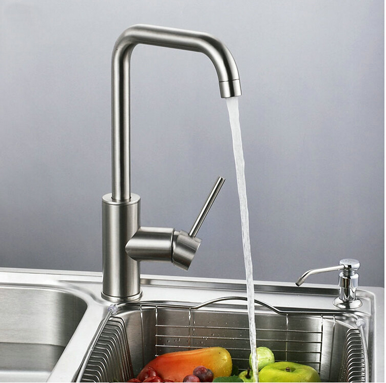 total 304 stainless steel kitchen faucet no lead safe single lever nickel finished hot and cold kitchen sink faucet,mixer tap super high quality 304 stainless steel hot and cold no lead brushed basin safe sink kitchen faucet with german technology