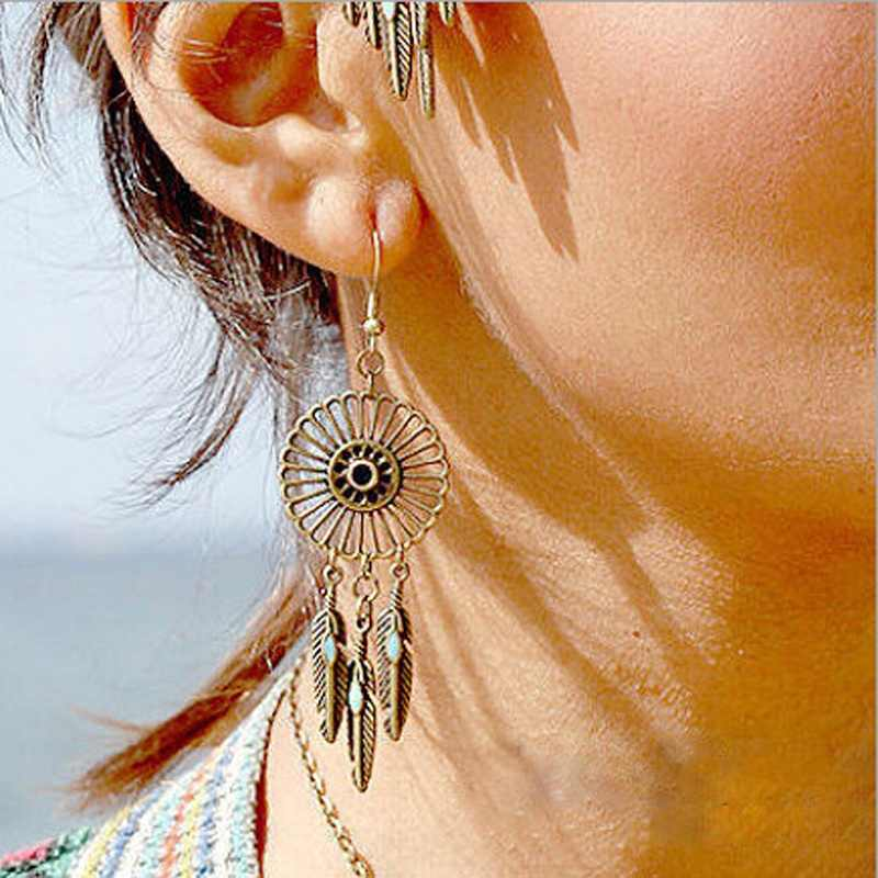 Bohemian Boho Dream Catcher Hippie Earrings DreamCatcher Summer Feather Charm Dangle Earring Gypsy Long Chain Earrings