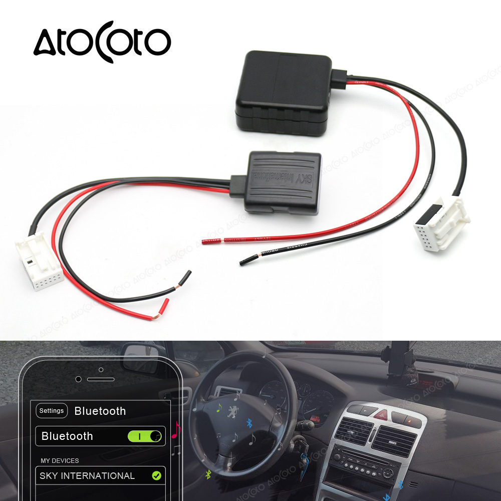 Modulo Bluetooth Wireless Radio Stereo 12 Pin Aux In Cavo Adattatore Compatibile con Peugeot 207 307 407 308 Per Citroen C2 C3 RD4