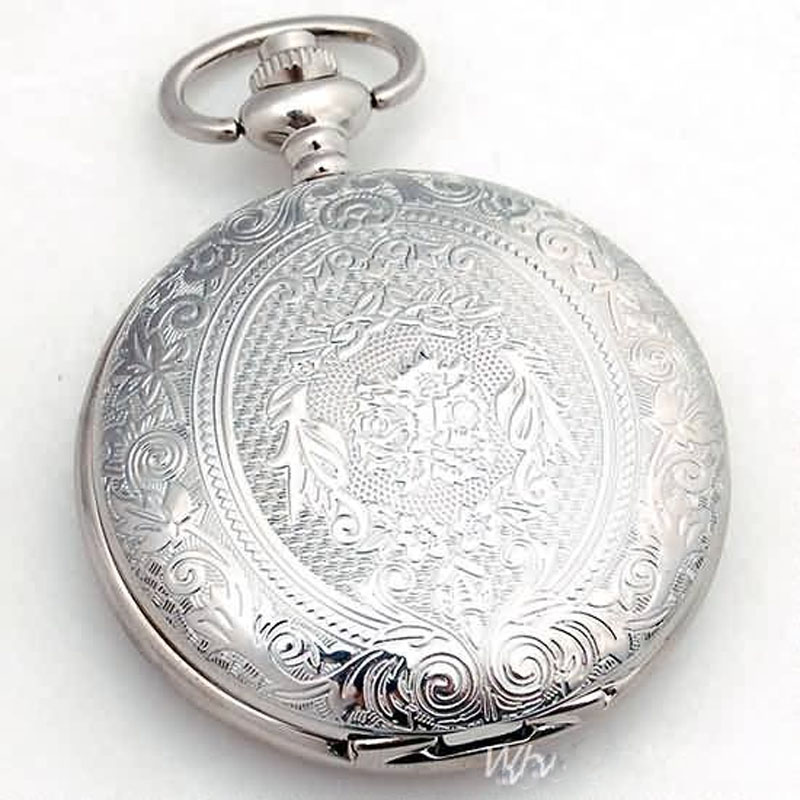 Mens Silver New Flip Cover Hollow Mechanical Pocket Watch