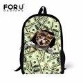 Preppy Style Children School Bags For Student Boys Girls,Funny Cat Animal Greenback Backpack Shoulder Book Bag Mochila Infantil