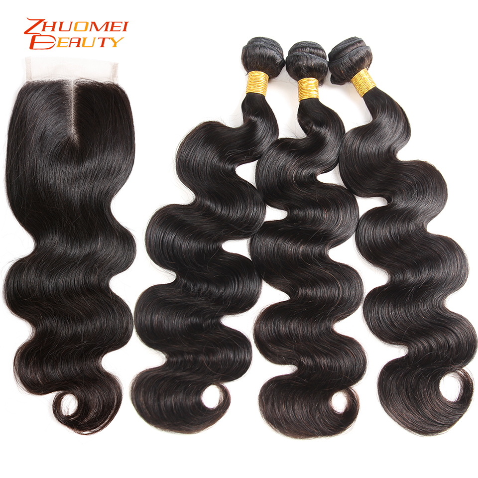 Brazilian Hair Body Wave 3 Bundles With Closure Human Hair Bundles With Closure 4 4Lace Closure
