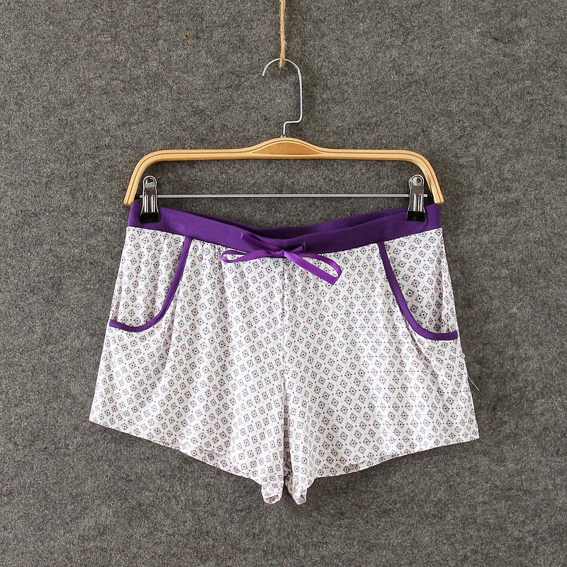 4e4fcffe4a07 Women Cute Light Purple Geometric Print Pajama Shorts Women Loose Summer  Print Pajama Hot Shorts Sleepwear Bottoms