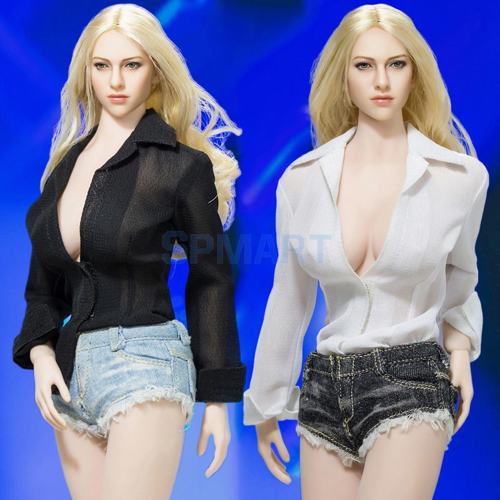 1/6 Blouse Shirt Denim Shorts & High Heels Clothes & Shoes Set for 12'' Female Figure Hot Toys Phicen Kumik CY Girls Accessories цена