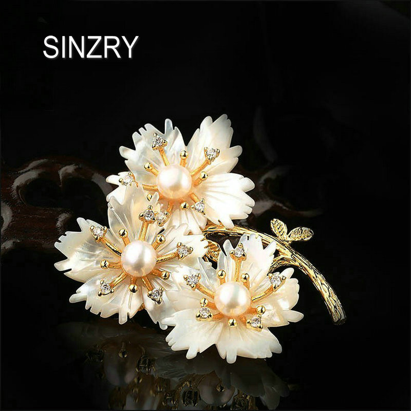 SINZRY luxury costume jewelry accessory trendy gold color natural shell flowers brooch lady cz color scarf buckles jewelry gift free shipping pm100cl1a120 can directly buy or contact the seller