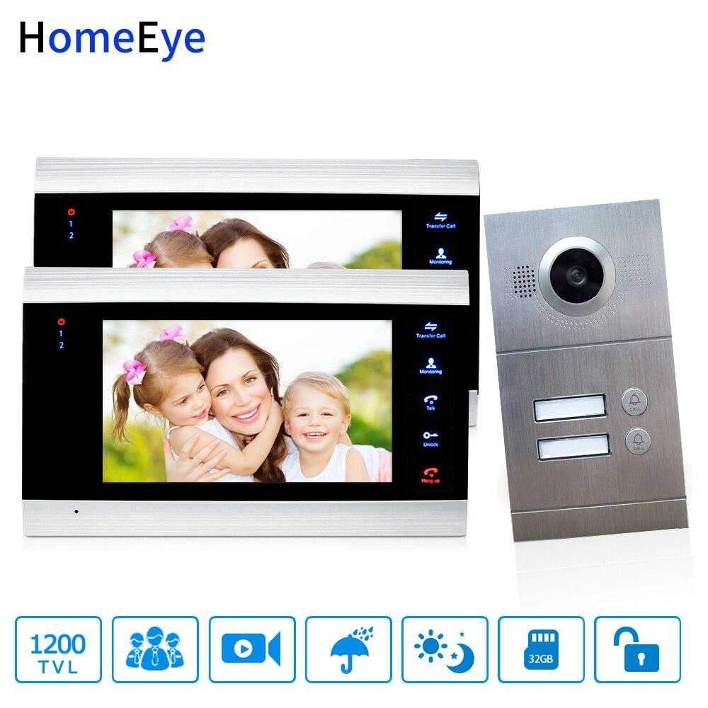 7 HomeEye ''Telefone Video Da Porta Sistema de Controle de Acesso Vídeo Porteiro Multi-Apartamentos Casa para 2 Separado Da Porta Da Família sino Do Menu OSD
